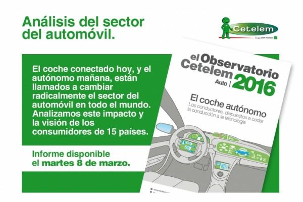 Informe del Observatorio Cetelem para 2016, centrodo en los smart car. La tendencia del coche conectado en el sector automoción.